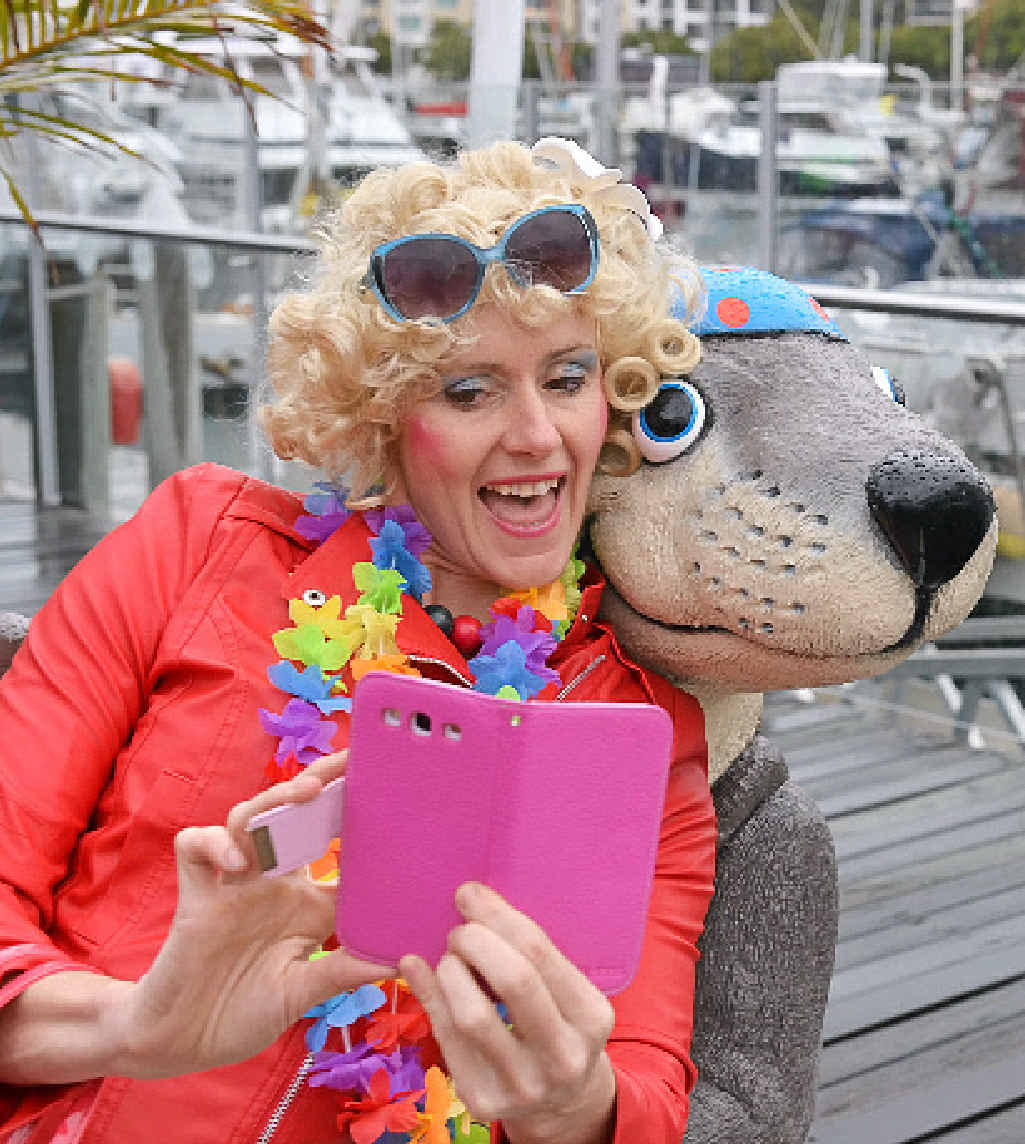 STILL HAMMING IT UP: Entertainer Nicky Kupfer and friend.