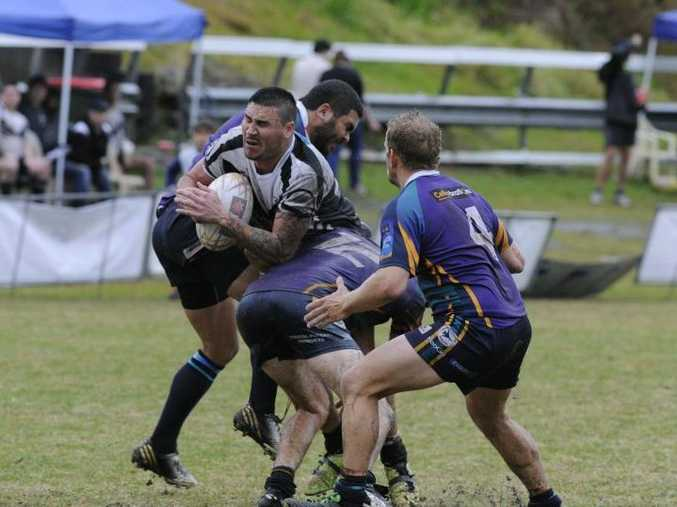 NRRRL match between the Lower Clarence Magpies and Evans Head at the Maclean show ground on Saturday. Magpie Aaron Walker busting through the defence. Photo: Debrah Novak / The Daily Examiner