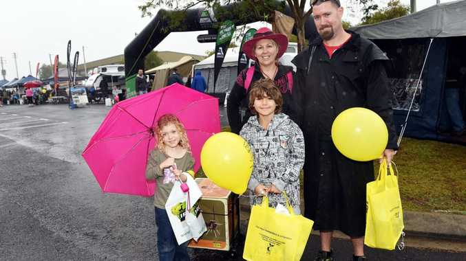 Hervey Bay's Pettley family enjoy the Wide Bay and Fraser Coast Home Show and Caravan, Camping, 4x4 and Fishing Expo , despite the wet weather.