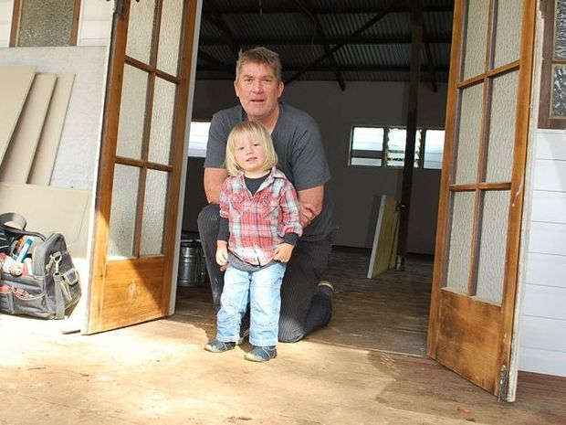 NEW DIGS: Director of the Byron School of Art Michael Cusack with his son Louis at the new Byron School of Art campus in Bangalow