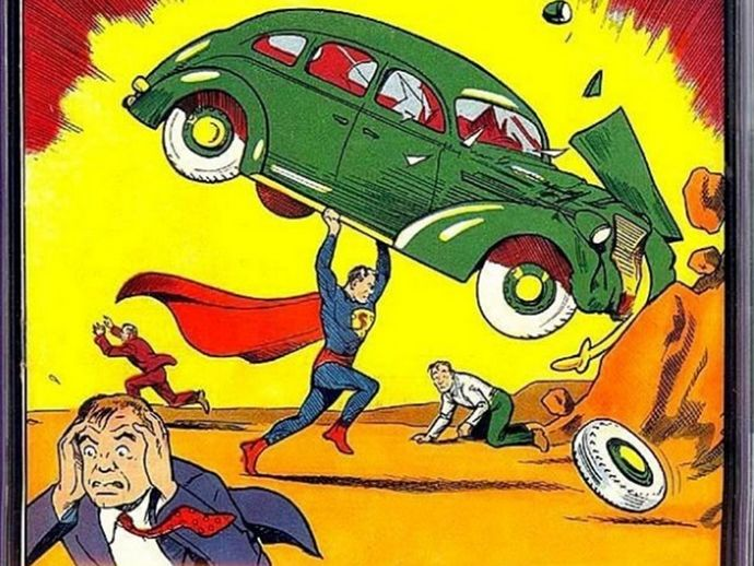 The cover of the comic which introduced the world to Superman, considered the 'holy grail' for collectors