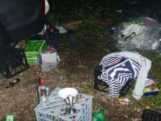 An image from the Byron Shire Council website showing rubbish scattered around the camping site of three Sydney tourists prosecuted by the council.