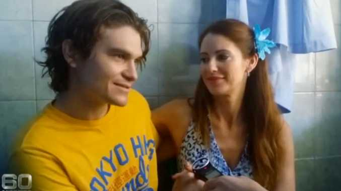 Convicted drug smuggler Scott Rush, 28, with fiancee Nikki Butler, 38, being interviewed by 60 Minutes