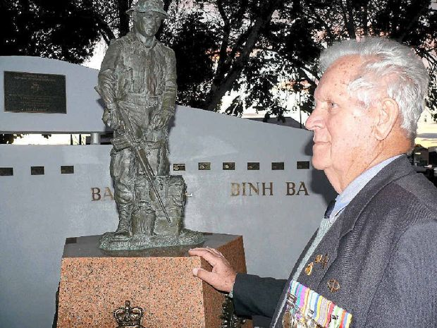 TRIBUTE: Former Vietnam Veterans' Association president Ralph Hindmarsh at the cenotaph he was instrumental in building in Memorial Park, Grafton.