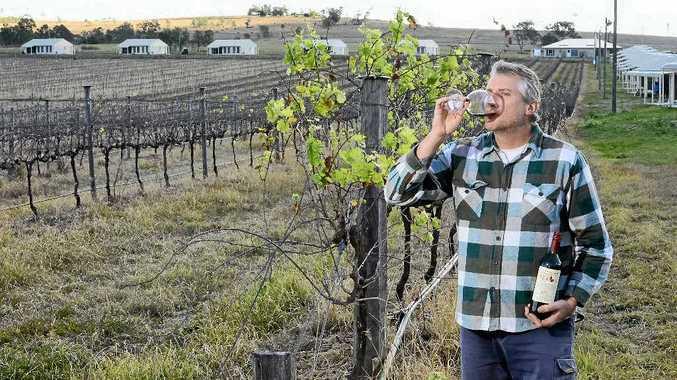 NEW VENTURE: Winemaker Jason Hannay toasts the success of villas for short-term accommodation at his Peak Crossing vineyard.
