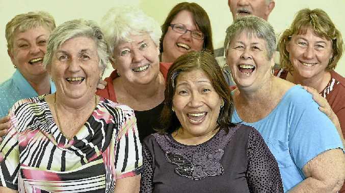 HA, HA: Patrice McFarlen, Noreen Dunne, Miriam Ogden, Mary-Anne Smith, Pauleen Walker, Colleen McDonald, Sue-Ellen Pashley and Steve Ross believe laughter is the best medicine.