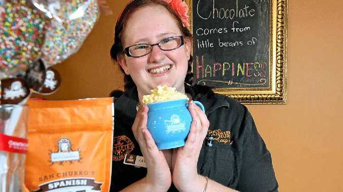 IN LOVE: Katie Embley, of San Churro, Maroochydore, with a Classic Spanish hot chocolate.