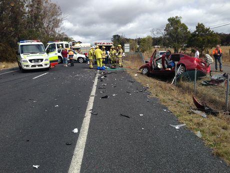 The crash scene on the New England Hwy near Dalveen.