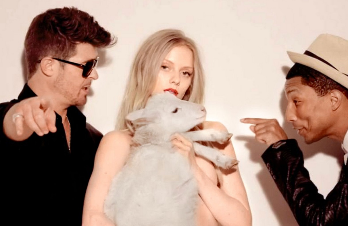 A still from the Robin Thicke film clip Blurred Lines, which became notorious for its nudity and sexual themes
