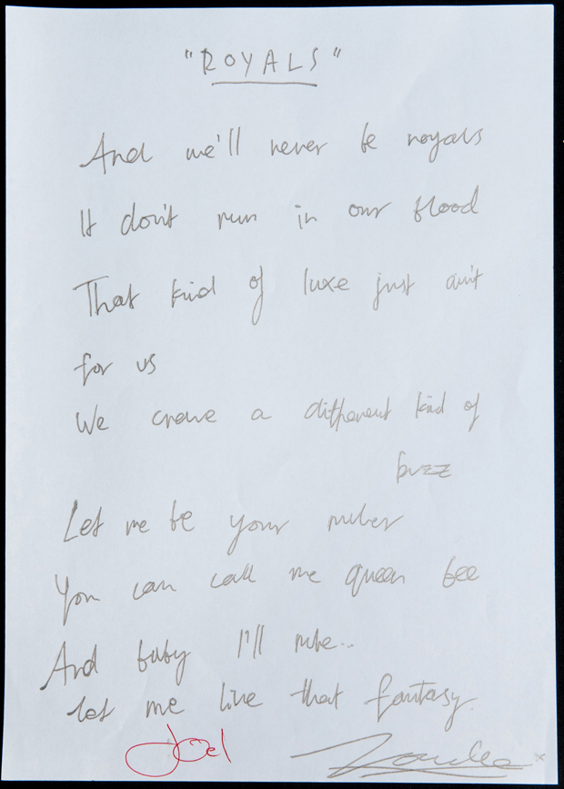 The handwritten lyrics for Lorde's international smash hit Royals
