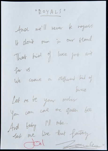 The handwritten lyrics for Lorde's international smash hit Royals