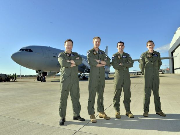 NEED FOR SPEED: (From left) Andrew Newman, Nic Bares, Seamus O'Donoghue and Jarred Croft are ready for take-off as part of Exercise Pitch Black in the sky over the Northern Territory.