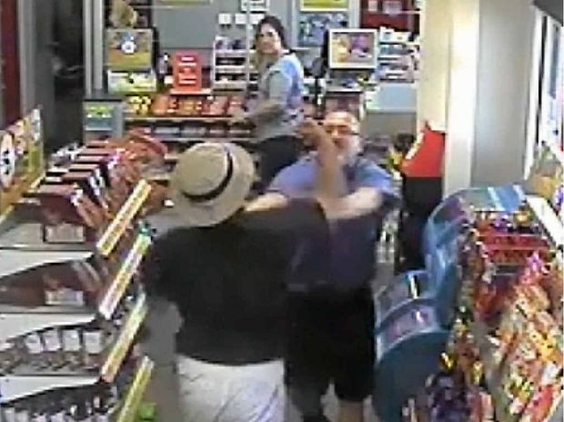CCTV footage shows Gilbert Andrew Purcell attacking shop assistant Stephen Mills at a Rockhampton service station last year.