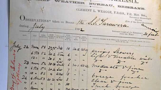 OLD RECORDS: An example of a ship's weather logbook.