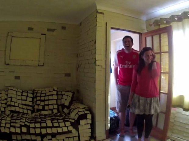 Jamie and Emily Pharro discovering their friend's prank