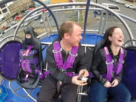 Mark Trenberth and Katrina Genefaas shock each other with a double proposal while sitting in a New Zealand thrill ride