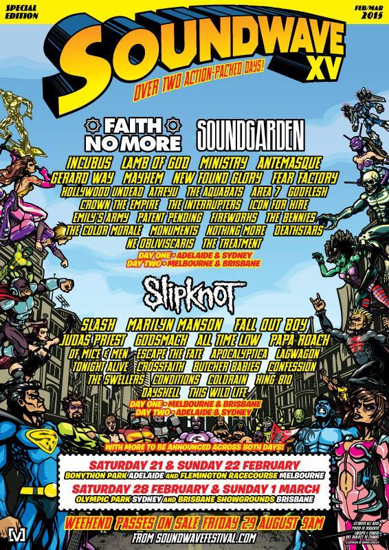 No more fake line-up posters! Here's the official Soundwave 2015 list.