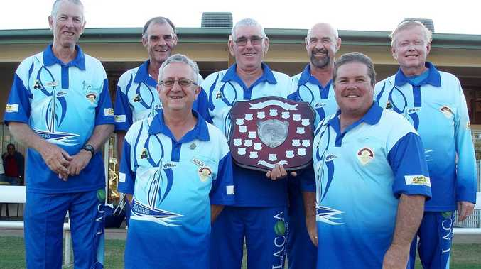 SHIELDED BY SUCCESS: Yeppoon Bowls Club players who brought home the coveted Fred Harrup Shield (rear, from left) Dave Bent, Trevor Higgins, Ian Lenham (holding shield), Bryan Churstain and Roy Graf; (front) Greg Kinnear (left) and John Martin.