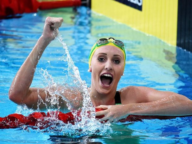 GLASGOW, SCOTLAND - JULY 26: Taylor McKeown of Australia celebrates winning the gold medal after the Women's 200m Breaststroke Final at Tollcross International Swimming Centre during day three of the Glasgow 2014 Commonwealth Games on July 26, 2014 in Glasgow, Scotland. (Photo by Jeff J Mitchell/Getty Images)