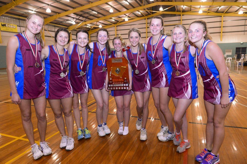 WINNERS ARE GRINNERS: Daily Examiner open netball winners McAuley Catholic College. Photo: Adam Hourigan / The Daily Examiner