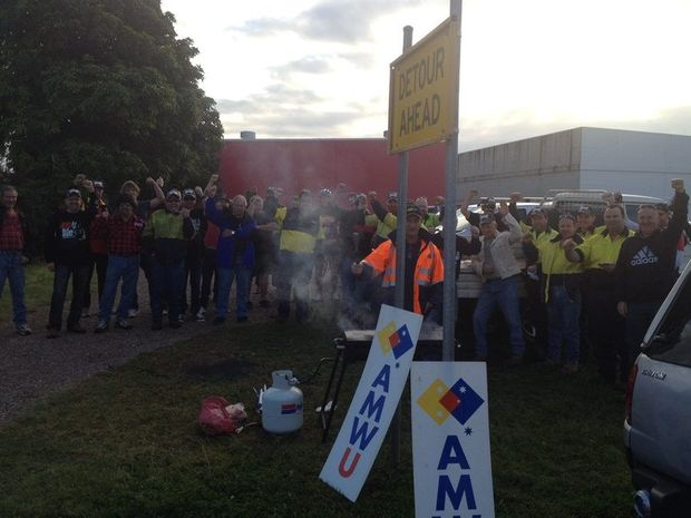 Union members at CQMS Razer held a barbecue at the beginning of a 24-hour stoppage on Thursday morning.