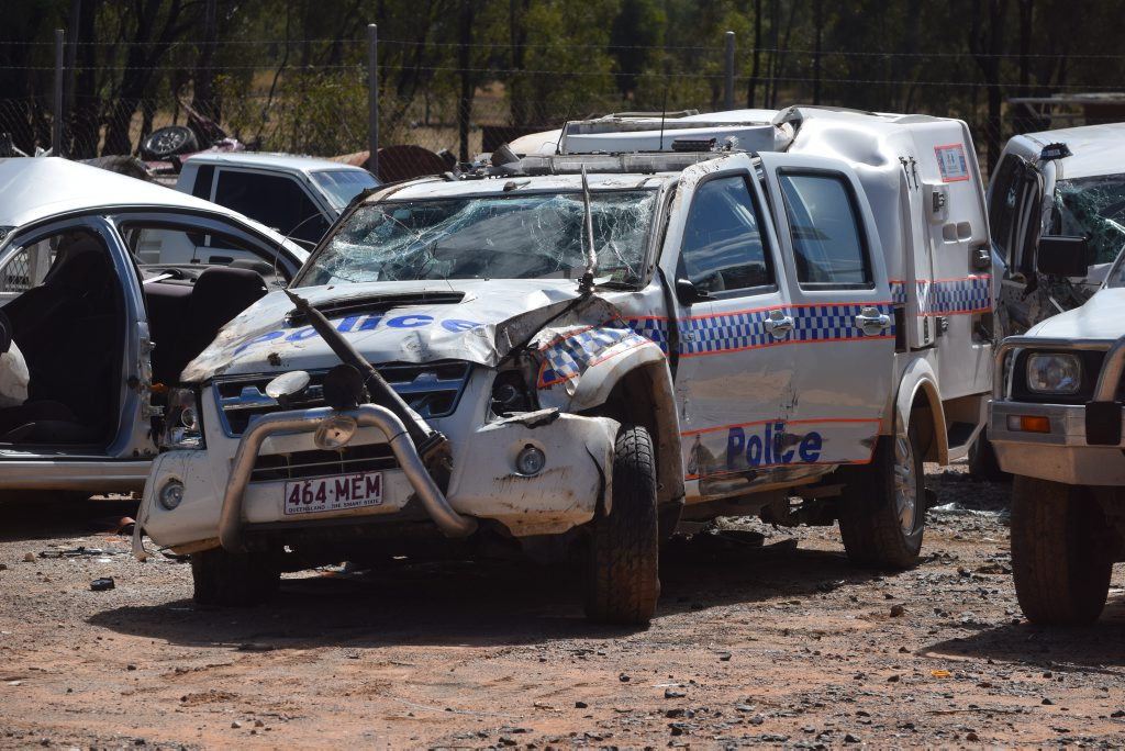 A police 4WD is stored at a Chinchilla wrecking yard after it overturned on the Tara Chinchilla Rd about 8.50pm on August 20, 2014.