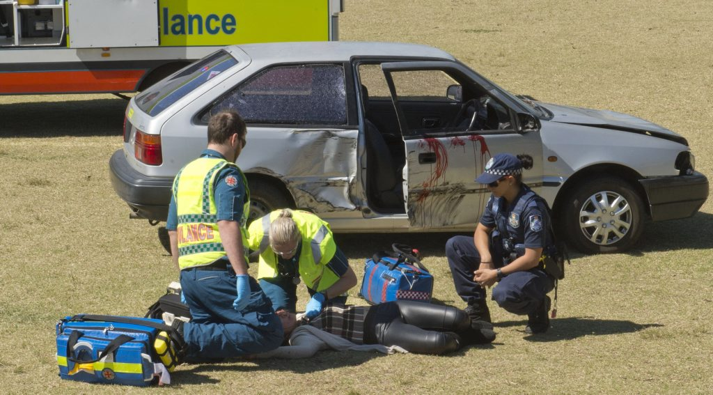 RACQ re-enactment of a fatal car crash to teach St Ursula's students about road safety.