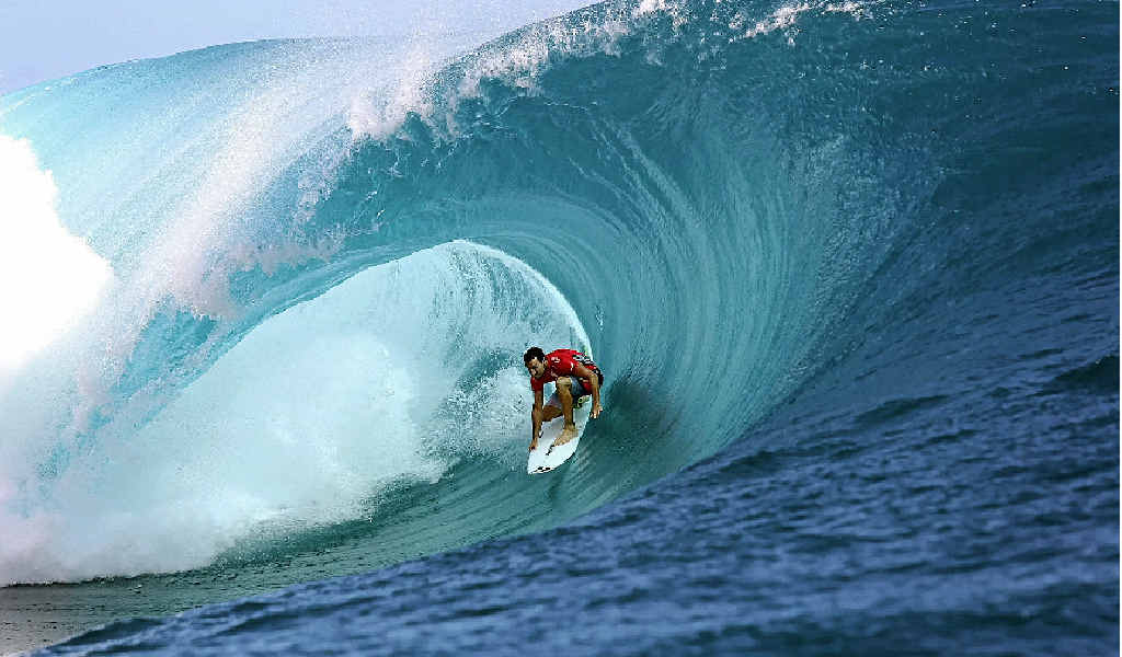WAVE DANGER: Joel Parkinson, from Tweed Heads, cuts through a barrel during the Billabong Pro Tahiti competition in Teahupo'o this week.