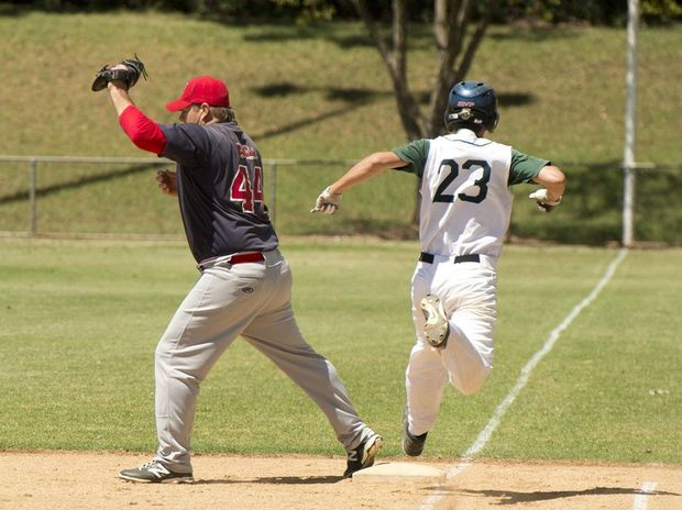 Tony Tarca on first base for Toowoomba Rangers against Beenleigh during this season's Pacific League match at Commonwealth Oval.