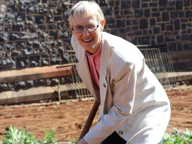 Reverend Penny Jones on the first day of the labyrinth's construction.