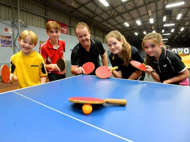 FAMILY CONTENDERS: Darren Green and his kids Lockie, Hayden, Shaina and Tahnee and are all playing in the Bundaberg Table Tennis Closed Championships this weekend. Photo: Zach Hogg / NewsMail