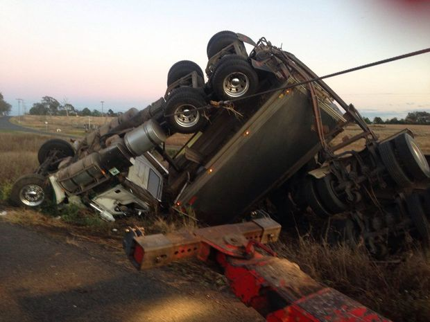 Truck crash at Westbrook.
