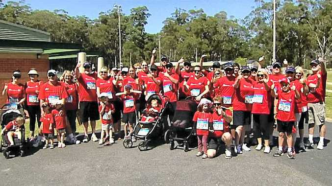 READY TO RUN: Staff and families from Key Employment started more than 60 competitors in the 2013 Coffs Harbour Running Festival. Photo: Contributed