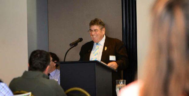 OPEN FOR BUSINESS: Somerset regional Mayor Graeme Lehmann speaking at the Regional Major Project Forum in Ipswich .
