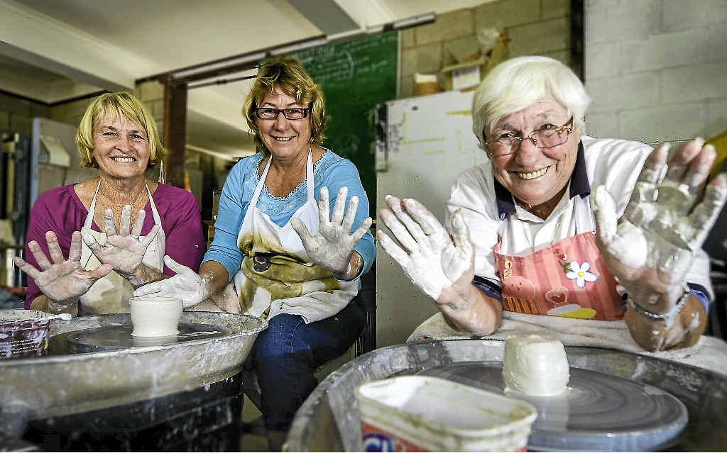 WHEEL FUN: Jeanette Webber, instructor Pauline Walters and Judy Aitkenhead at a Seniors' Week pottery workshop.