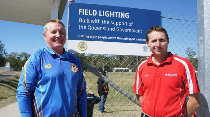 PRIMED FOR BIG DAY: Gladstone Junior Rugby League president Richard Duff (left) and Chris Jones, from Platinum Electricians Gladstone at Briffney Creek fields.