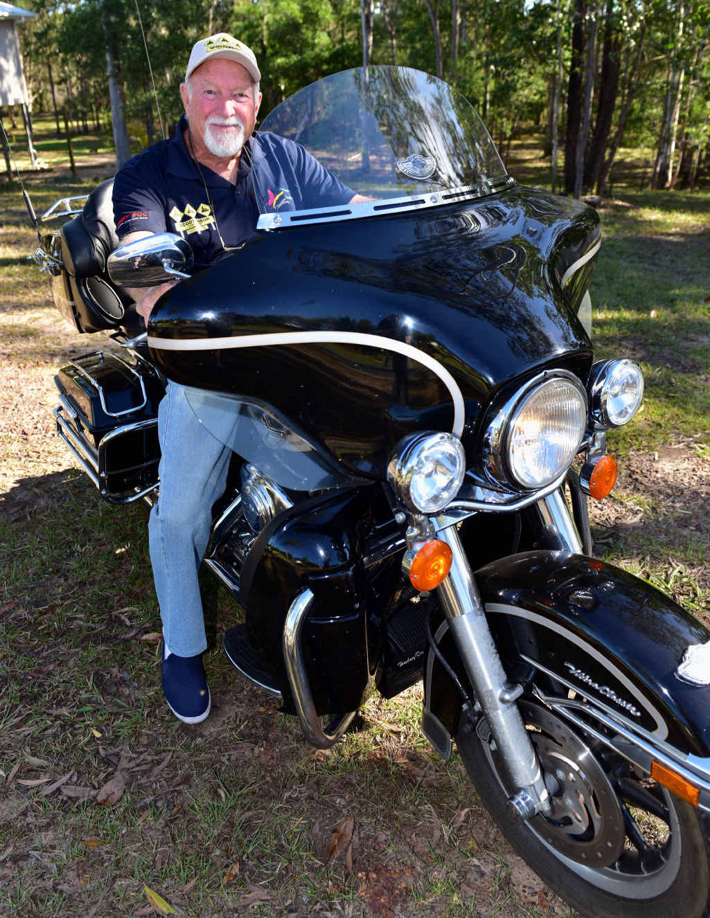 COMEDOWN IN POWER: David Marr of Noosa Banks will swap his Harley-Davidson for a 50cc scooter to ride across the Nullarbor.