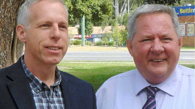ON THE HUSTINGS: ALP candidate for Glass House, Brent Hampstead, with Deputy Opposition Leader Tim Mulherin.