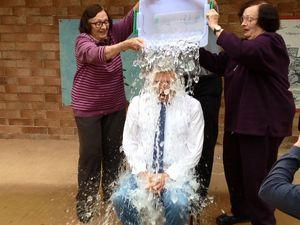Kevin Hogan gets the ice-bucket treatment