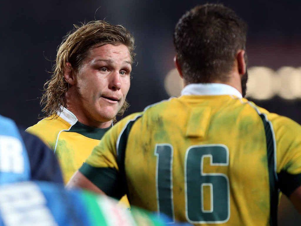 SHOCKER: Australia's Michael Hooper seems to be feeling the pain at Eden Park last night.