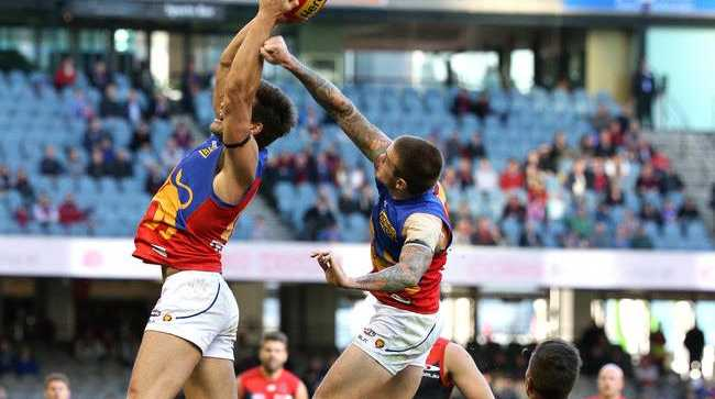 Stefan Martin of the Lions marks during the Round 19 AFL match between the Melbourne Demons and the Brisbane Lions at Etihad Stadium in Melbourne on August 3rd, 2014.