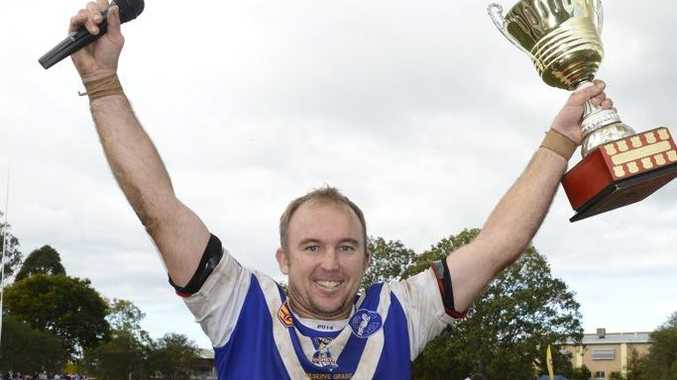 Grafton Ghosts reserve grade captain/coach Phil Warby celebrates their win in the Group 2 reserve grade grand final. Photo Adam Hourigan / The Daily Examiner