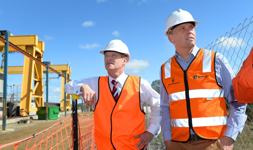 Queensland Premier Campbell Newman (left, pictured here with Transport Minister Scott Emerson) inspects the onsite manufacturing plant at the Yeppen floodplain crossing on the southern approach to Rockhampton on the Bruce Highway. Photo: Chris Ison / The Morning Bulletin