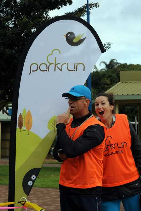 The Inaugural parkrun- Two of the core team members at the first parkrun at Urangan on Saturday morning. Photo: Robyne Cuerel / Fraser Coast Chronicle