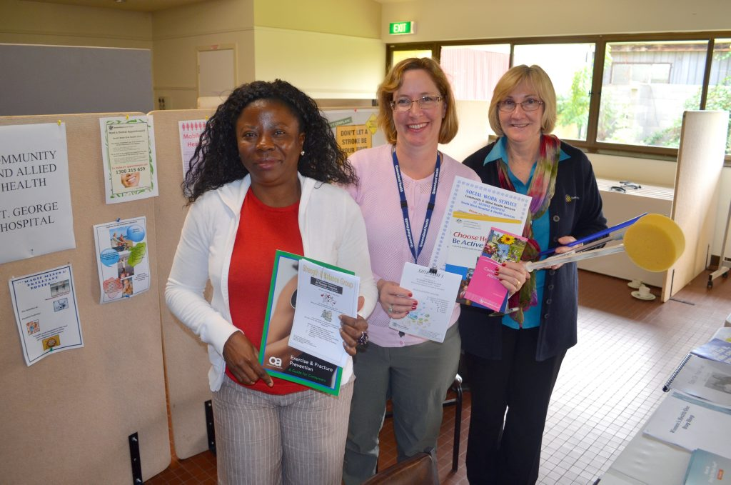 UQ social work student Chizoma Okoro, social worker Heather Scriven and allied health assistant Kym Duncan.