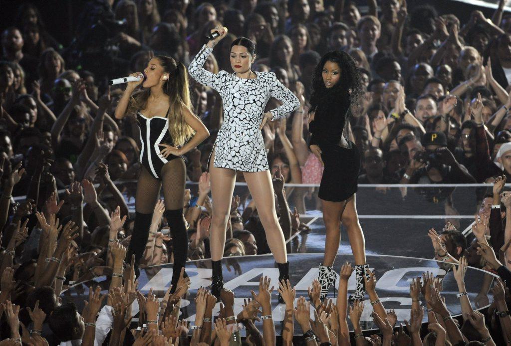 Ariana Grande, Jessie J and Nicki Minaj perform at the MTV Video Music Awards at The Forum in Inglewood, California.