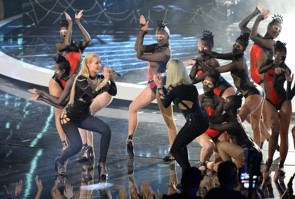 Iggy Azalea, left, and Rita Ora perform on stage at the MTV Video Music Awards (VMAs), at The Forum in Inglewood, California.