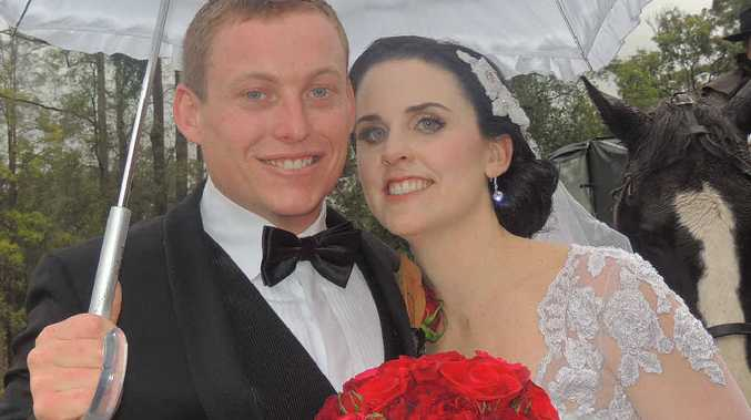 HAPPY DAY: Bradley Morcombe and Anna Martin on their wedding day.