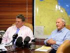Dominic Doblo and Sir Graham McCamley speaking about a dam on the Fitzroy River. Photo Allan Reinikka / The Morning Bulletin