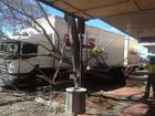 A semitrailer has hit a tree in Maryborough's Ellena St on Tuesday morning.